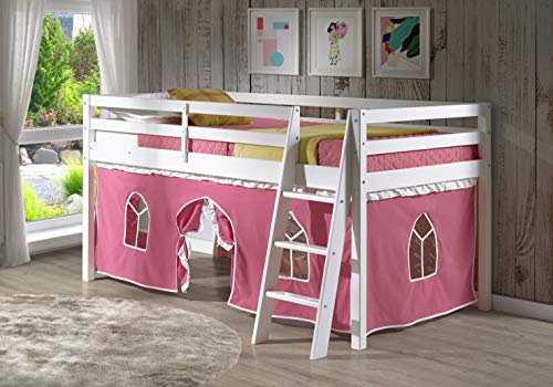 Alaterre Roxy Pine Twin Junior Loft Bed, White with Pink & White Tent