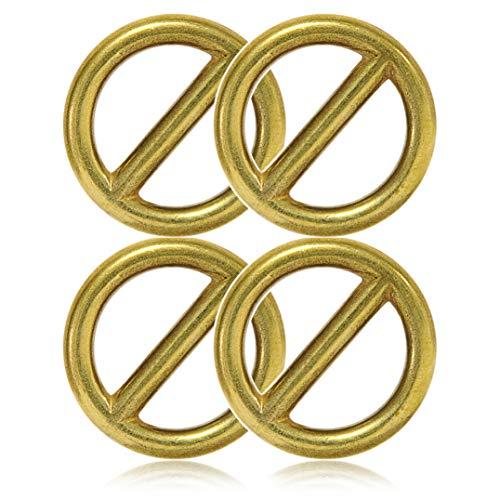 Ganzoo O - Ring mit Steg aus Stahl, 4er Set, DIY Hunde-Leine/Hunde-Halsband, nichtrostend, Steg-Ring ideal mit Paracord 550, geschweißt, Farbe: altgold