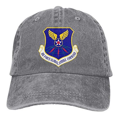 Xarchy Gorra de béisbol Vaqueros Sombrero Gorras de Mezclilla Comando de Ataque Global de la Fuerza Aérea de EE. UU. Unisex Adulto Lavado Ajustable Sombrero de papá Gris Vintage