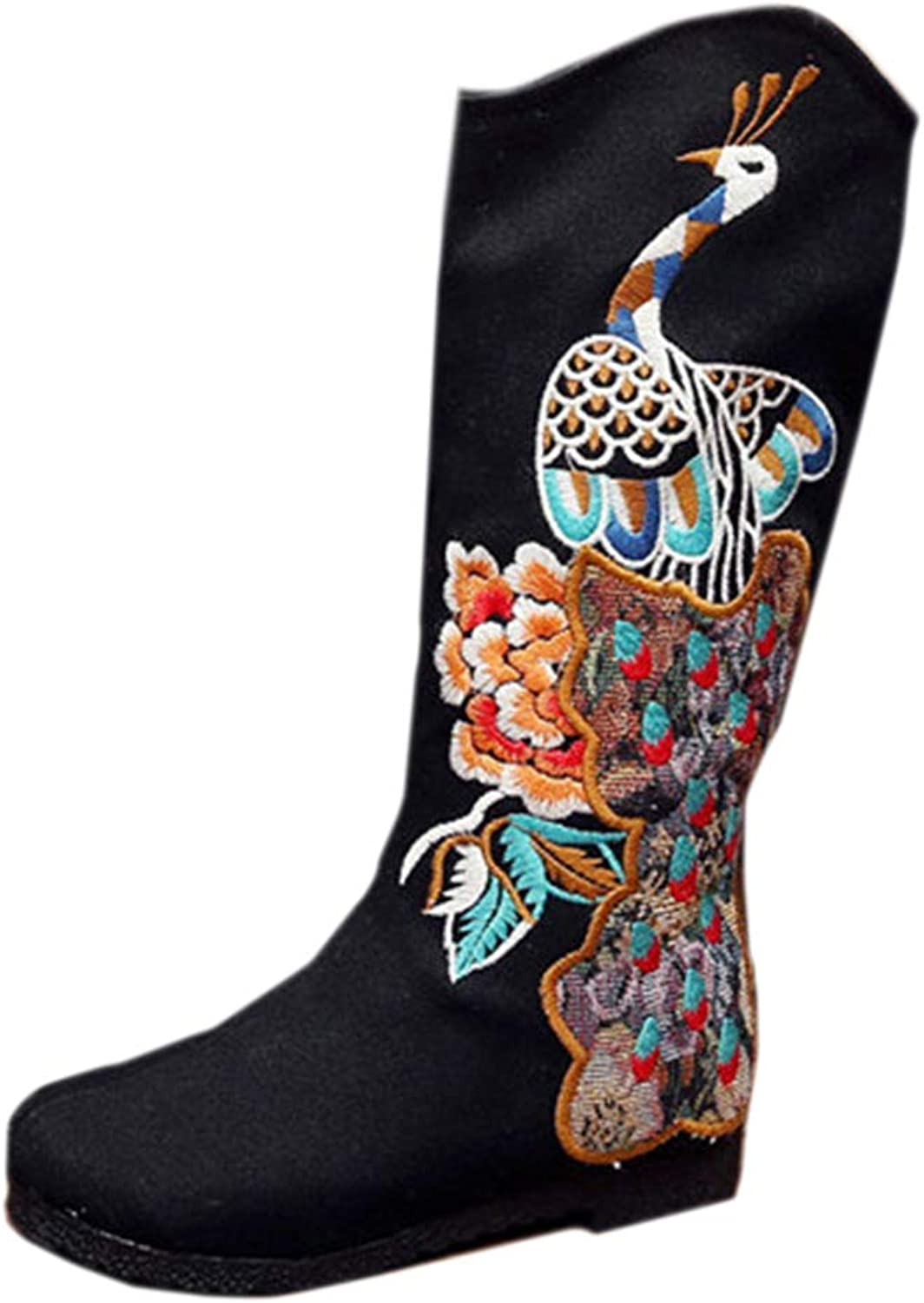 Longxing Peacock Vintage Beijing Cloth shoes Embroidered Boots