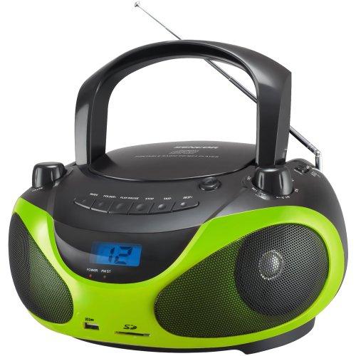 Sencor SPT 228 BO - Radio portátil con Reproductor de CD/MP3 (Receptor estéreo Am/FM, Pantalla LCD, 2 x 15 W, Puerto USB), Color Negro y Verde
