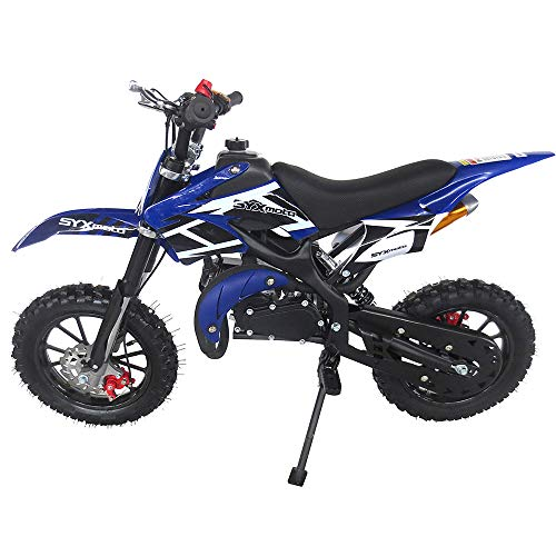 professional SYX MOTO Kids Dirt Bike Hole Shot 50cc Gas Power Mini Dirt Bike (Blue)