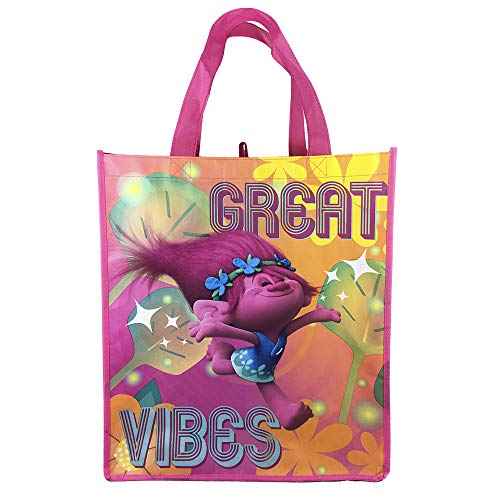 Dream Works Trolls Great Vibes Lavender, Reusable Large Tote Bags for Kids, Teens, and Adults! Great for parties, birthdays, field trips, school activities, and so much more!