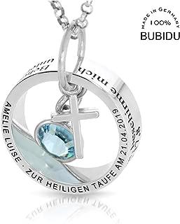 Herrenkette mit Gravur Familienkette Mann Silber Stern Herren Kette schwarz M/ännerkette personalisiert mit Text HANDMADE