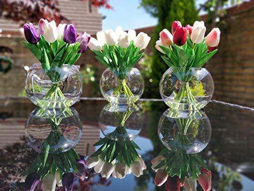 Home Decor 4 U – Tulipanes artificiales en florero, planta artificial, tulipán artificial, jarrón con flores, flores de…