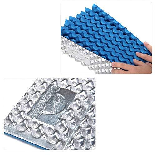 Schlafsack Campingmatten Matten Ei extrem leichte Aluminiumklapp Gland tragbare Feuchtigkeitsauflage, Farbe Camping: blau (Color : Blue)