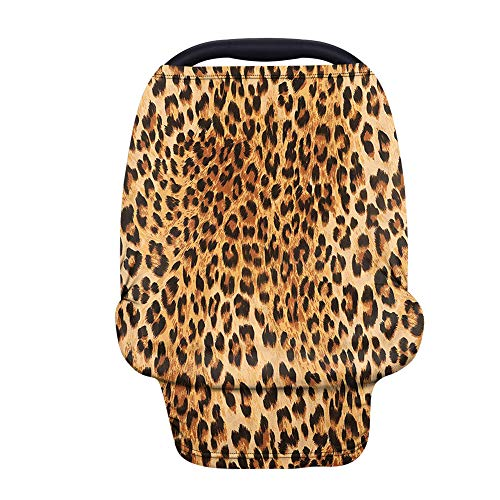 Binienty Leopard Cheetah Print Stretch Car Seat Covers for Babies Infants, Breathable Stretch Baby Stroller Cover Canopies