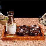 ZHEYANG Juego de 6 Piezas de Sake con Bandeja de Madera artesanías de Porcelana Retro Tradicional de Estilo japonés, café Blanco