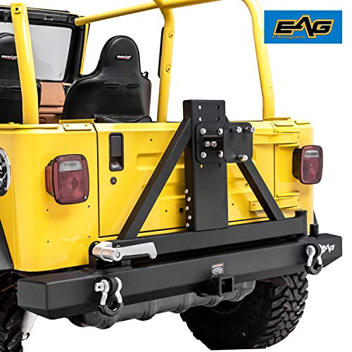EAG Classic Rear Bumper with Tire Carrier Black Textured Fit for 87-06 Jeep Wrangler TJ YJ