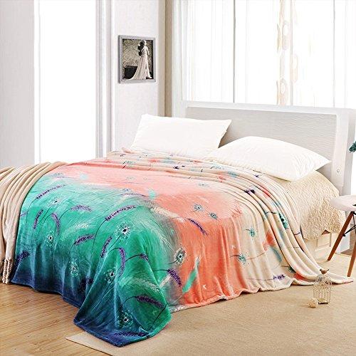 Global- Simple bureau tapis Climatisation couverture siesta couverture loisirs couverture polyester feuilles couverture de lit double Coral ( taille : 230*240cm )