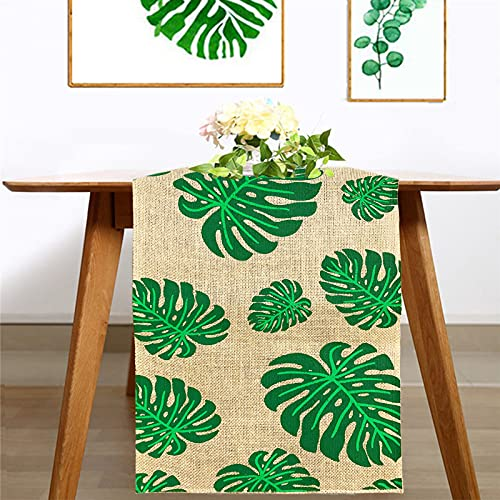 of aerwo party favors dec 2021 theres one clear winner Tropical Leaves Table Runner 72 Inches - Burlap Hawaiian Monstera Leaf Table Runner - Green Palm Leaf Table Runner for Hawai Luau Party, Jungle Themed Baby Shower, Birthday Party Table Decorations