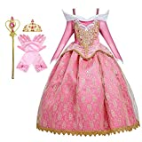 HIHCBF Girls Sleeping Beauty Costume Lace Princess Birthday Christmas Party Halloween Carnival Fancy Dress Up w/Accessories 7-8T