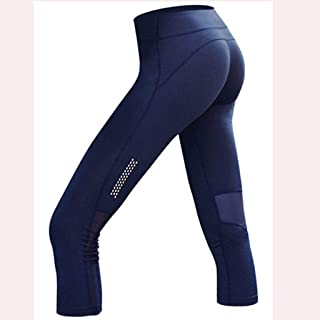 HXLG Womens Yoga Pants Running Leggings Pockets Capri Pants High Waist Workout Cropped Mesh Stretchy Leggings (Size : L)