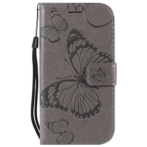 DENDICO Coque Galaxy S4, Papillon Imprimé PU en Cuir Coque Magnétique Portefeuille TPU Étui Housse pour Samsung Galaxy S4 - Gris