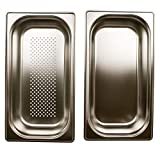 Dampfgaren Set gelocht GN 1/3 Gastronormbehälter aus Edelstahl 2,5 Liter Tiefe 65mm