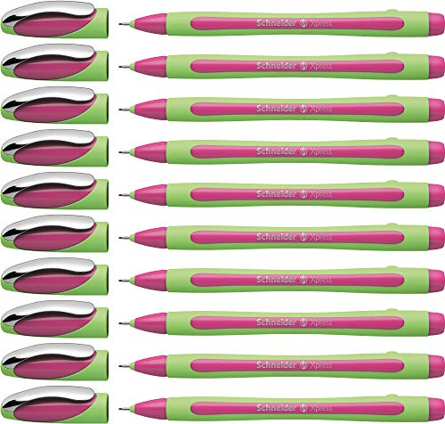Schneider Xpress Fineliner 0.8mm Porous Point Pen, Pink, Box of 10 (190009)