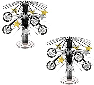 Amscan Black, Silver and Gold Graduation Party Caps and Stars Mini Cascade Table Centerpiece Decoration, Foil, 7 (2-Pack)