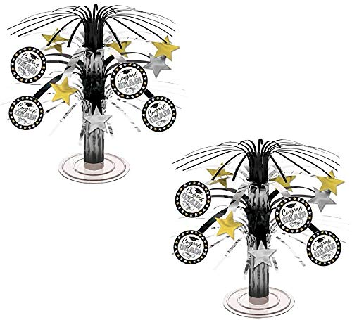 Black, Silver and Gold Graduation Party Caps and Stars Mini Cascade Table Centerpiece Decoration, Foil, 7 (2-Pack)