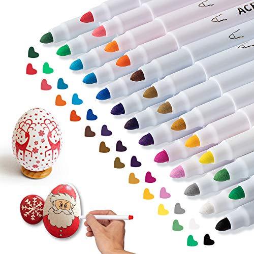 APOGO Acrylstifte Marker Stifte Set, 25 Farben Wasserbasis Acrylfarben Stift zum Steine Bemalen Holz Glas Blumentopf Körper, Acrylmarker Pen für DIY Fotoalbum,Stein, Leinwand, Papier, Glasmalerei