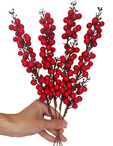 IronBuddy 4 Pack Christmas Berry Decor 15.7' Artificial Red Berry Stems for Christmas Wedding Holiday Party Home DIY Wreath Garland Christmas Tree Crafts Decorations (No Leaves)