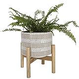 Maceta, jardineras exterior, maceta interior, maceta cerámica con soporte de madera, maceta de mesa decorativo estilo Boho con agujero de drenaje, 14 cm, Blanco y beige arena
