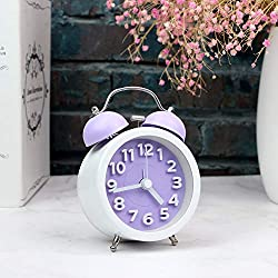 ARTCHE 3 Mini Classic Retro Analog Twin Bell Alarm Clock with Non-Ticking, Night Light Function,Large Number for Easy to Read,Battery Operated (Purple&White)