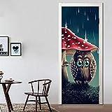 Yjlmt Door Wall Sticker Pvc Adhesivo Diyrenovar Decoración Del Hogar Imprimir Arte Búho Seta Papel Impermeable Mural Armario Renovación Calcomanía Imagen 3D