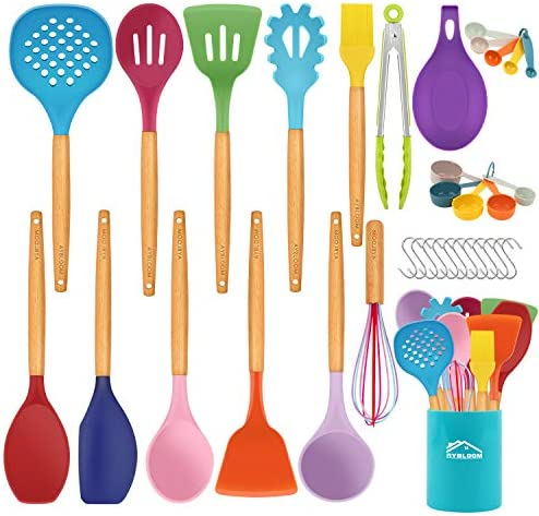 Aybloom 25 PCS Silicone Kitchen Cooking Utensil Set Wooden Handles BPA Free Heat Resistant Silicone product image
