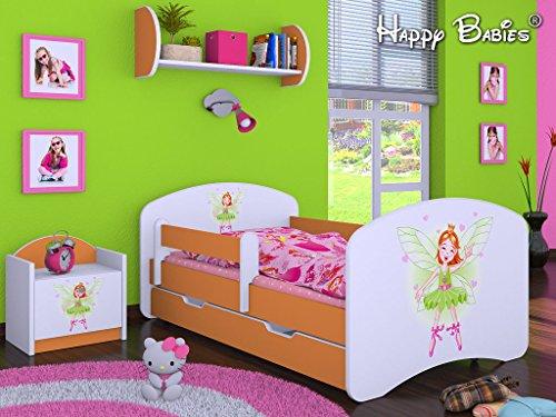 HB Kinderbett mit Matratze und Bettkasten - NEU , Verschiedene Motive Orange (140x70cm mit Schublade, PRINZESSIN)