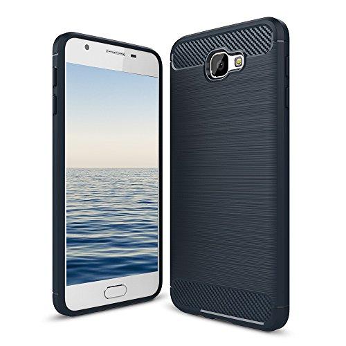 MYCASE Schutzhülle Handy Hülle für Samsung Galaxy J7 Prime On7 | DUNKELBLAU | Carbonfibre Cover Handyhülle | TPU Silikon Weich Tasche | Armor Schutz Hülle Handy