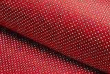 La fraise rouge Popeline - Tela de algodón (160 x 50 cm), diseño de lunares, color rojo y blanco