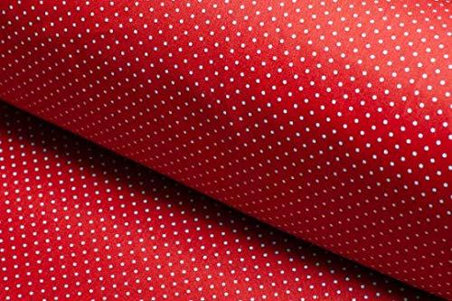 La fraise rouge Tissu en popeline de coton Rouge à pois blancs 160 x 50 cm