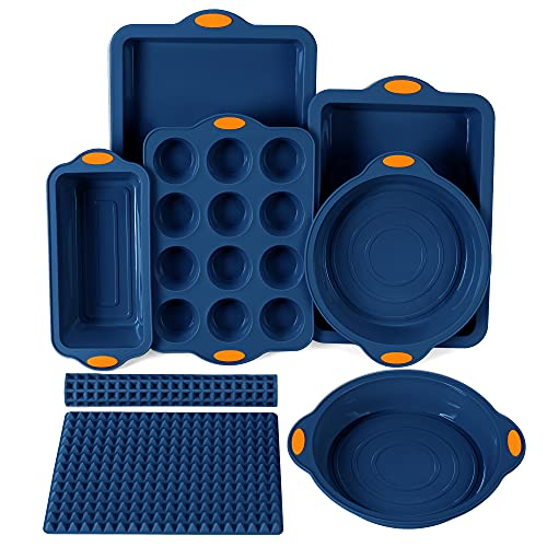 To encounter 8 in 1 Silicone Baking Set - 6 Silicone Molds - 2 Silicone Baking Mat, Nonstick Baking...