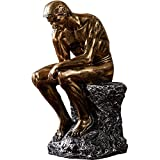 "10"" Resin The Thinker Statue Famous Thinking Man Sculptures Home Decor Art Crafts Gifts NBHUZEHUA Golden"