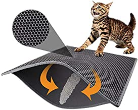 Pieviev Cat Litter Mat Double Layer Waterproof Urine Proof Trapping Mat (30''X24'', Gray)