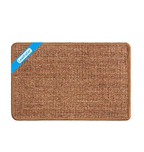 LSAIFATER - Alfombrilla rascadora para gatos de sisal natural, protege alfombras y sofás (60x40cm, Marrón)