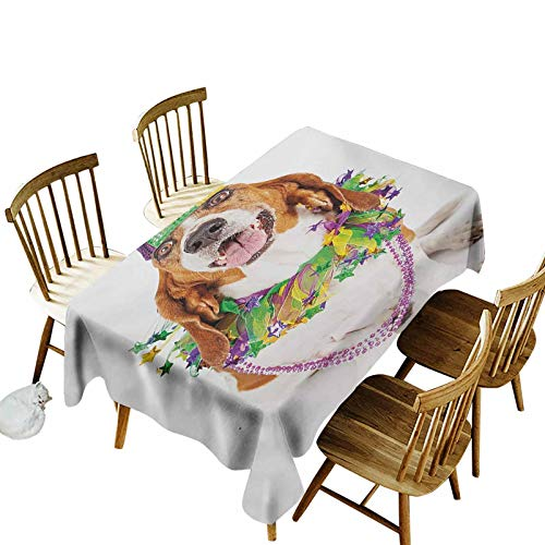 Mardi Gras Tablecovers Rectangular Happy Smiling Basset Hound Dog Wearing a Jester Hat Neck Garland Bead Necklace Suitable for Kitchen 52 x 70 Inch