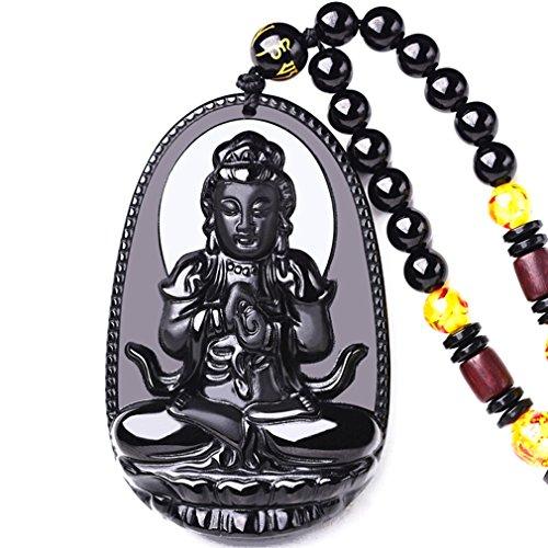 clin-kk Buddha Pendant Necklace Bodhisattva Amulet Talisman Made of Obsidian Gemstone Men or Women