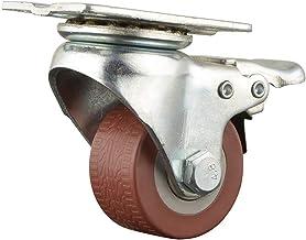 JY Draaibare wielen 4 stuks van 40 mm zwenkwielen draaibare plaat op bruine polyurethaan wielen (2 inch geen rem) Heavy Du...