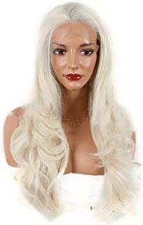 Fashian Creamy-White Synthetic Lace Front Wigs Curly Hair Heat Safe Half Hand Tied DIY Fun (Color : Creamy-White)