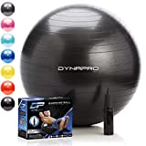 DYNAPRO Exercise Ball – Extra Thick Eco-Friendly & Anti-Burst Material Supports Over 2200lbs – Stability Ball for Home, Gym, Chair, Birthing Ball (Black, 45 Centimeters)