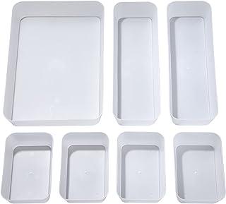 Plateaux de Rangement pour Tiroir, Transparent Cosmétiques Diviseur Organisateur en Plastique avec Boîtes 3 Tailles pour B...
