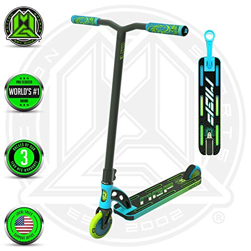 VX9 PRO Scooter - Suits Boys & Girls Ages 6+ - Max Rider Weight 220lbs - 3 Year Manufacturer's Warranty - World's #1 Pro Scooter Brand - MFX Patented Technology - Light Weight (Blue/Green 2019)