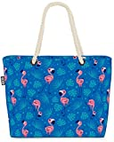 VOID Flamingo Palms Azul Bolsa de Playa 58x38x16cm 23L Shopper Bolsa de Viaje Compras Beach Bag Bolso