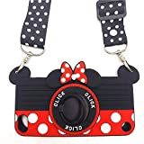 iPod Touch 7 Case, Touch 6 Case, Touch 5 Case Cute Minnie Mouse 3D Rotating Ring Grip Holder Kickstand Lanyard Teens Girls Women Soft Silicone Rubber Cover for iPod Touch 7th 6th 5th Generation (T7)