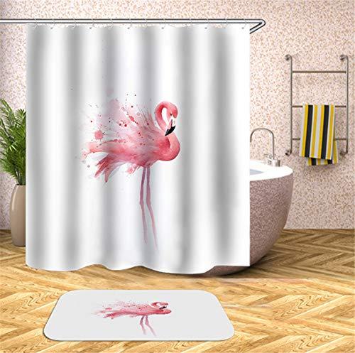 Chickwin Flamenco Impermeable Cortina de Ducha Antimoho Antibacteriano 3D Impresión, Diseño Cortina de Baño/Ducha/Bañera 100% Poliéster con 12 Anillos (180x180cm,Blanco)