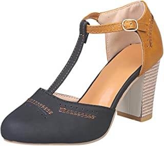 Women's Buckle Strap Ankle Sandals - Casual Round Toe Chunky Thick High Heels Breathable Closed Toe Rome Shoes Size 5-9