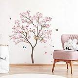 decalmile Pegatinas de Pared Árbol de Flores Rosa Vinilos Decorativos Aves en Rama Adhesivos Pared Dormitorio Salón Cocina (H: 100cm)
