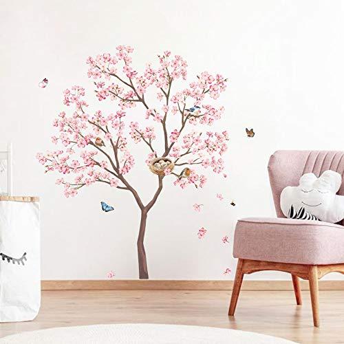 decalmile Stickers Muraux Fleurs de Cerisier Rose Arbre Autocollant Murale Oiseaux et Branche Décoration Murale Chambre à Coucher Salon Cuisine (H:100cm)