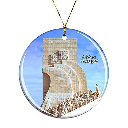 Portugal Monument to The Discoveries Lisbon Christmas Ornaments Ceramic Christmas Tree Decoration Hanging Ornament Xmas Gifts for Kids Girls